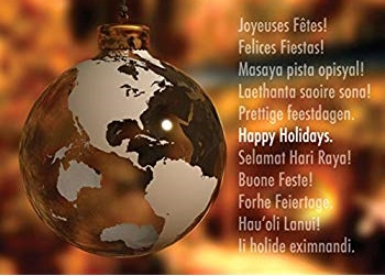 globe ornament and happy holidays in multiple languages