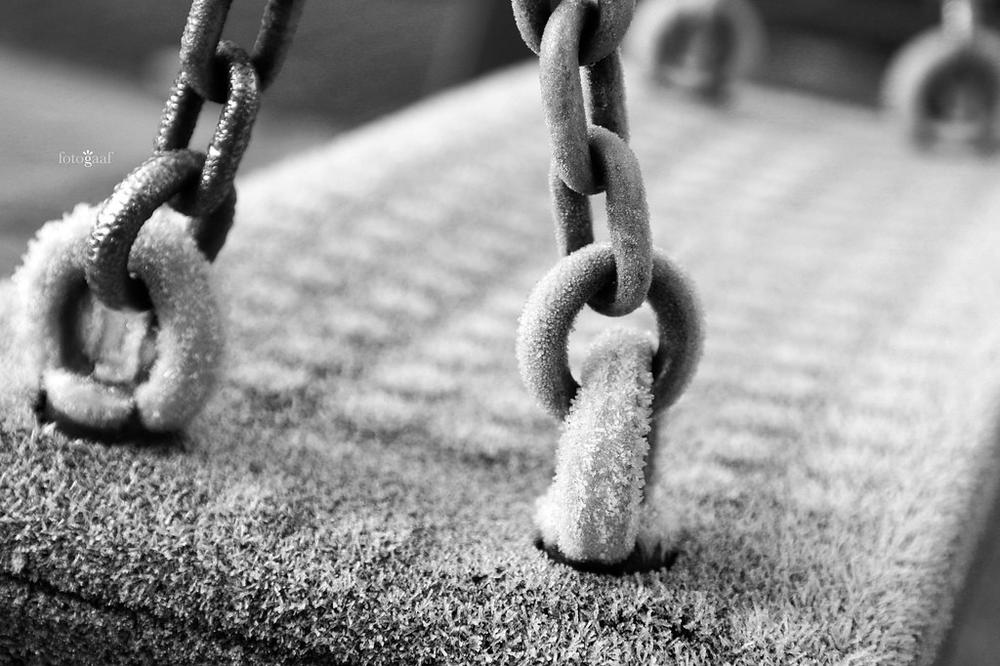 frost on a playground swing