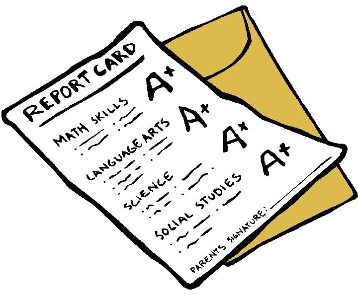 drawing of report card and envelope