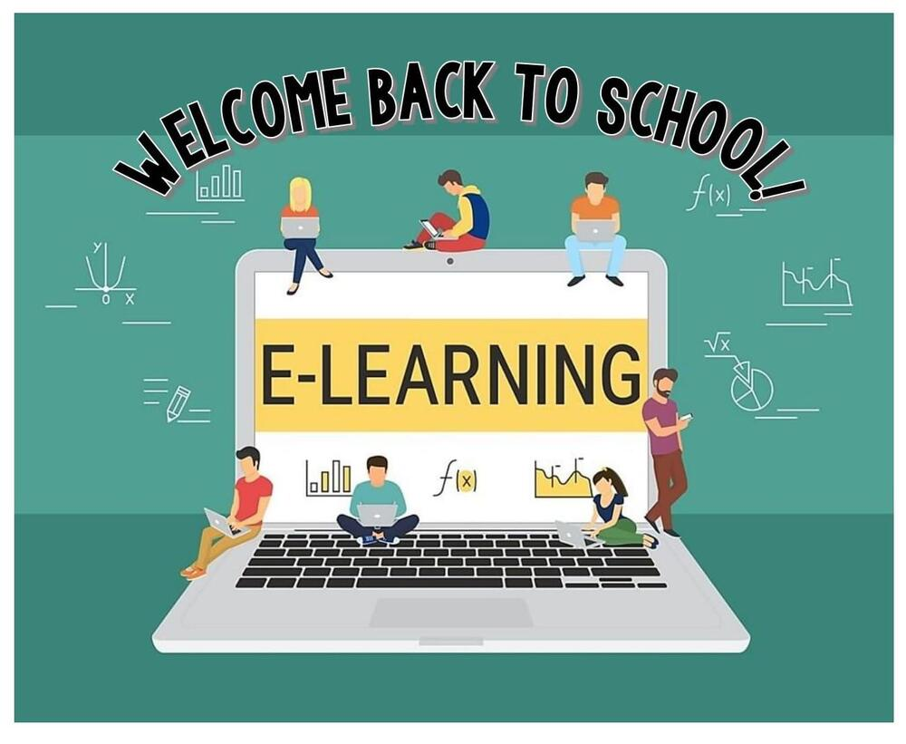 Welcome Back to School E-learning laptop with children sitting on it and studying