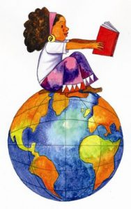 girl sitting on globe with book
