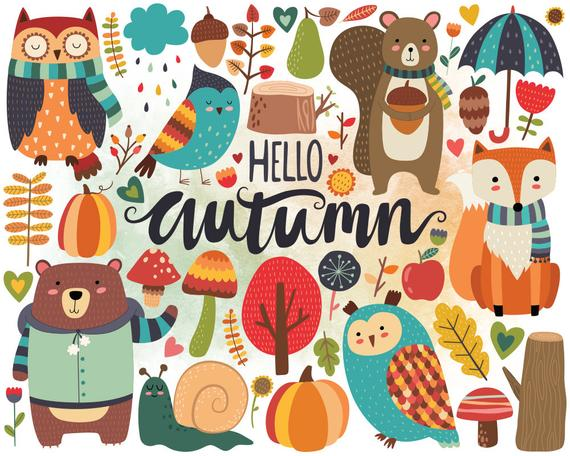 Hello Autumn and folksy forest animals and foliage illustration.