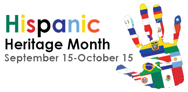 Hispanic Heritage Month September 15 - October 15 and hand imprinted with world flags.