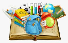 open book with backpack, globe, stack of books, and other school materials