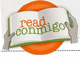 Read Conmigo, hands holding open book with orange circle behind.